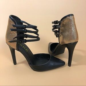 Paper Fox Shoes - Paper Fox Black and Gold Strapped Heels